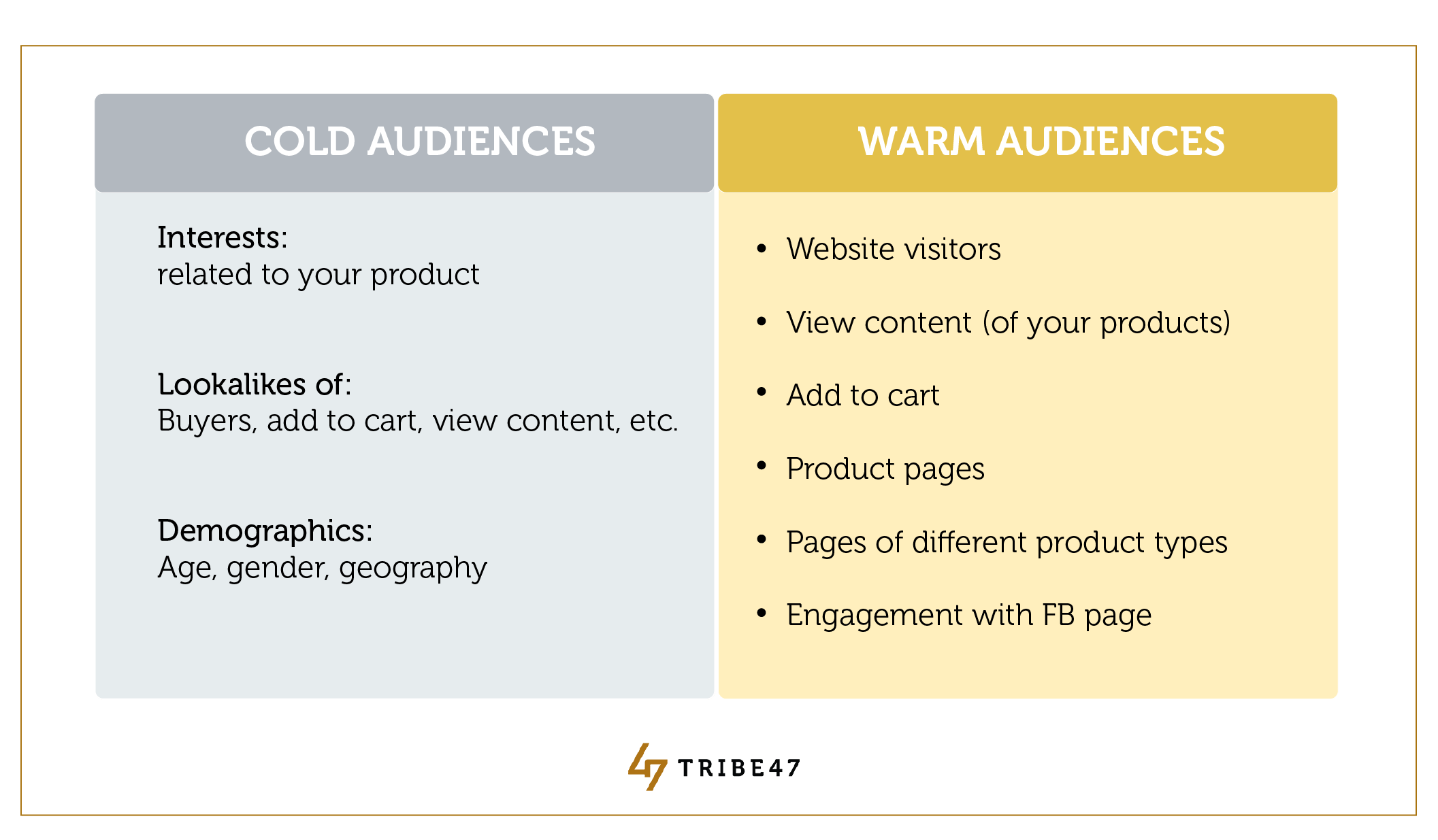 Cold Warm Audiences Facebook Ads Ecommerce